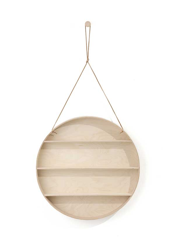 ferm LIVING Round Dorm Plywood Shelf with Leather String -7435