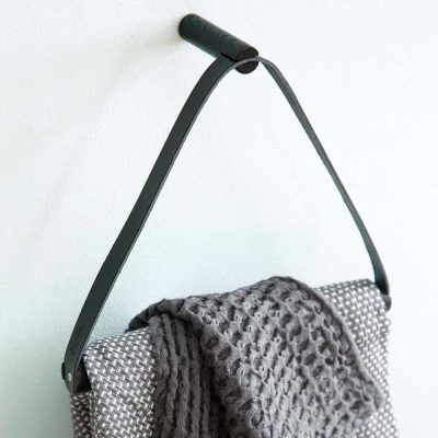 BY WIRTH Towel Hanger Leather + Oak - Black-0