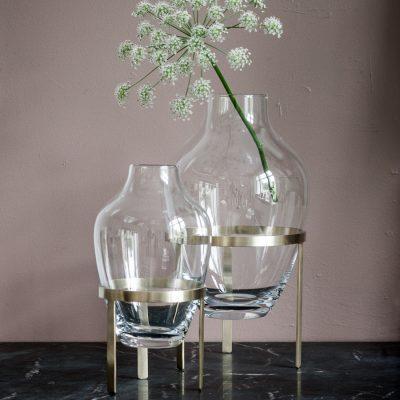 NORDSTJERNE Glass Vase With Matte Brass Stand - 2 sizes-0