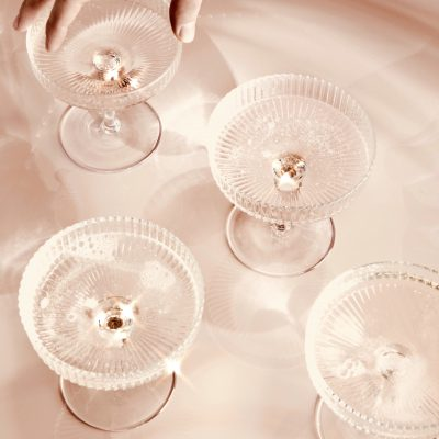 ferm LIVING Ripple Glass Champagne Saucers (Set of 2)-0
