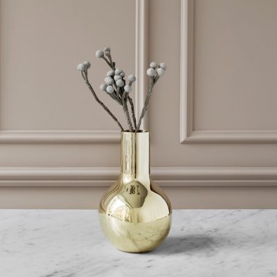 SKULTUNA Boule Vase, TALL in Polished Brass 23cm-0