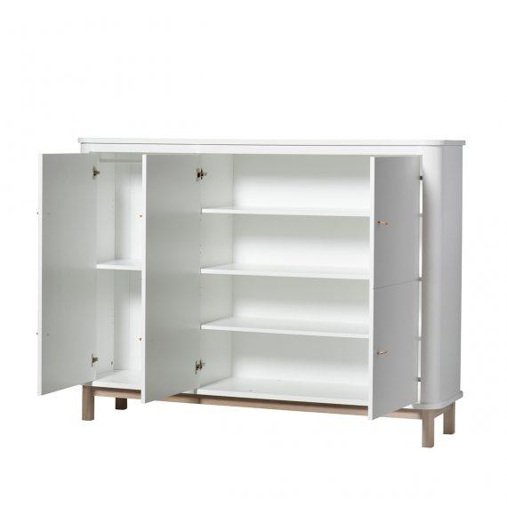 OLIVER FURNITURE Wood Chest / Multi Cupboards 3 Doors White/Oak -16310