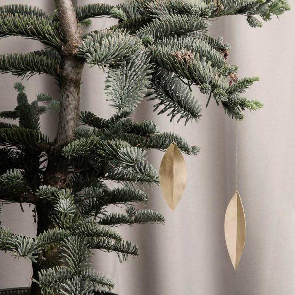 ferm LIVING Christmas Leaf Brass Ornaments (set of 4)-18855