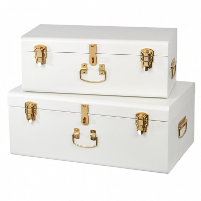 BELLE & CO LIVING Large Storage Cases Set of 2 - White with Brass Hardware-0