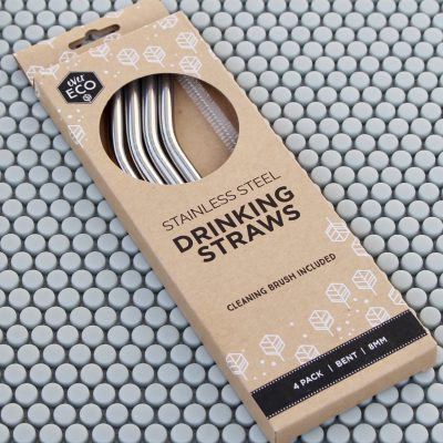 EVER ECO Reusable Steel Drinking Straws, Bent 4 PACK-0