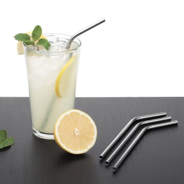 EVER ECO Reusable Steel Drinking Straws, Bent 4 PACK-24514