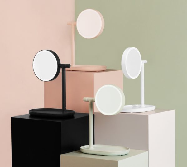 OSC Illuminated 2-Way Make Up Mirror (Cordless + Rechargeable) BLUSH-24774
