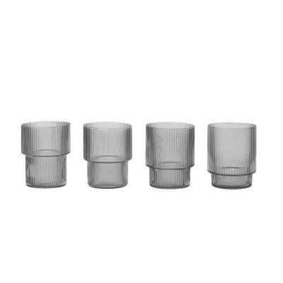 ferm LIVING Ripple Glasses Smoked Grey (Set of 4)-0