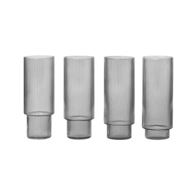ferm LIVING Ripple Long Drink Glasses Smoked Grey (Set of 4)-0