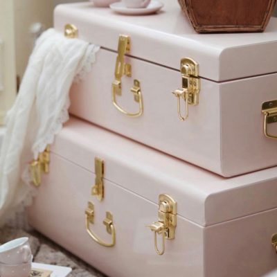 BELLE & CO LIVING Large Storage Cases Set of 2 - Pink and Gold Hardware-0