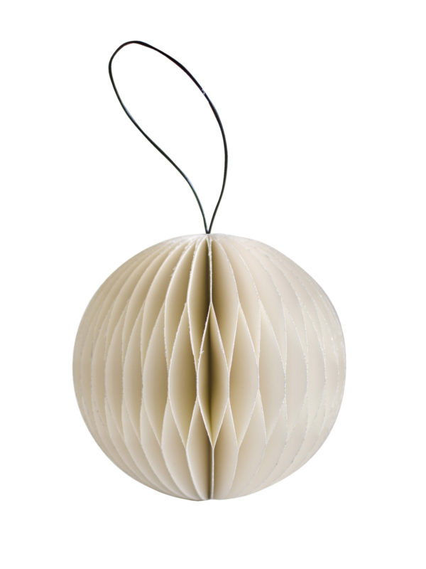 NORDIC ROOMS White Paper Ball With Glittered Edge Christmas Decorations-0