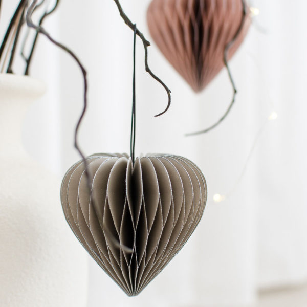 NORDIC ROOMS Sage Green Paper Heart With Glittered Edge Christmas Decorations-31272