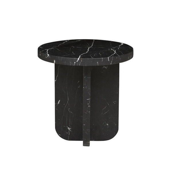 PRE ORDER - GLOBEWEST Amara Curve Side Table Black Marble-31646
