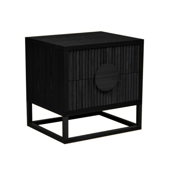 GLOBEWEST Benjamin Ripple Bedside Matt Black IN STOCK -0