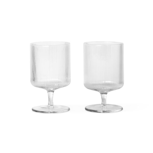 ferm LIVING Ripple Wine Glasses – Set of 2, Clear-0