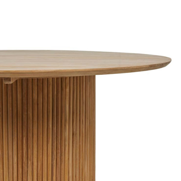 PRE ORDER - GLOBEWEST Tully Round Dining Table, Natural Teak-32077