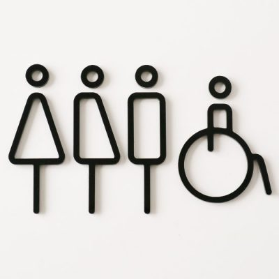 MOHEIM Restroom Sign, Black - 4 Pieces-0