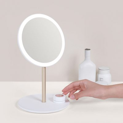 Compact Travel Illuminated Make Up Mirror, White (Cordless and Rechargeable)-0