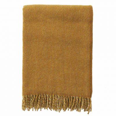 KLIPPAN Shimmer Blanket/Throw Organic Lambs Wool, Mustard-0