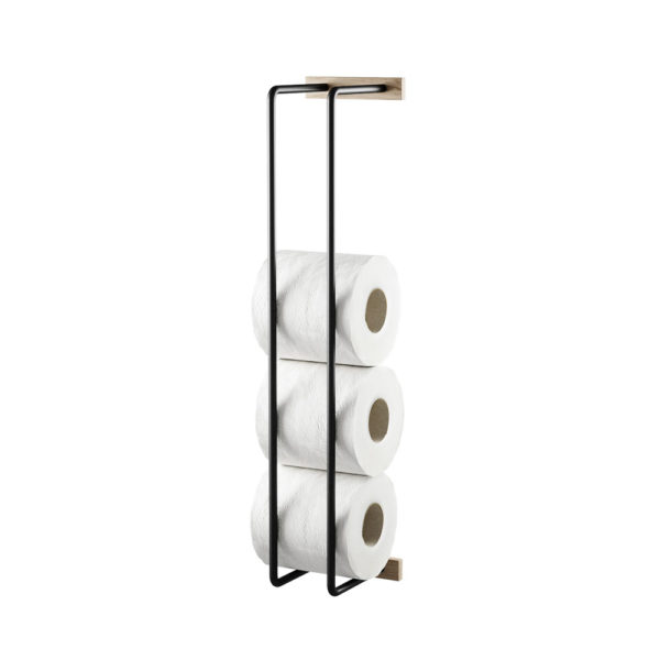 BY WIRTH Bathroom Hand Towel and Toilet Roll Rack, Smoked Oak/Black-36072