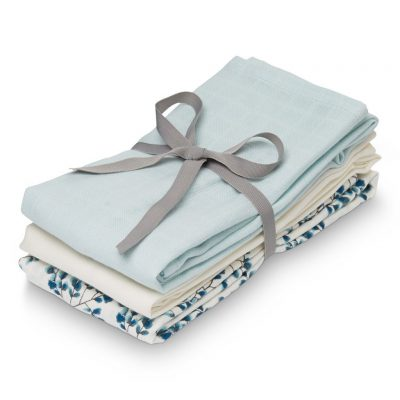 CAM CAM Organic Muslin Cloth, 3 Pack Mix - Fiori, Light Blue, Crème White-0