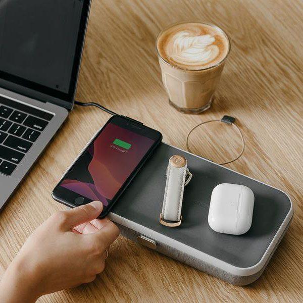 ORBITKEY Nest Ash, Portable Desk Organiser + Wireless Charger-0