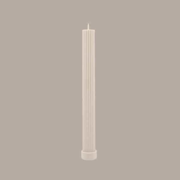 BLACK BLAZE Column Pillar Candle, Cream White-36584