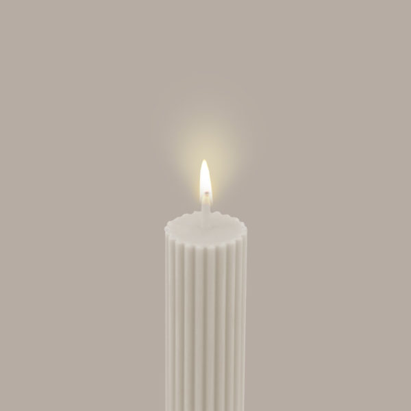 BLACK BLAZE Column Pillar Candle, Cream White-36583