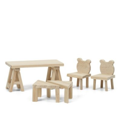 LUNDBY DIY Doll's Table and Chairs Furniture Set-0